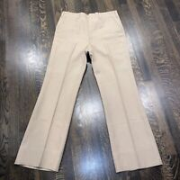 Vtg 60s 70s HAGGAR Dress Pants TAN Disco Leisure Suit Mid Century Mod Mens 33 31