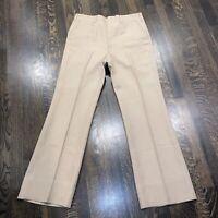 Vtg 60s 70s HAGGAR Dress Pants TAN Disco Leisure Suit Mid Century Mod Mens 33 31