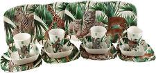 Set Of 4 Tiger, Leopard, Giraffe, Zebra Safari Melamine Plates, Bowls, Cups