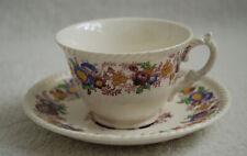 VINTAGE ROYAL CAULDON TEA CUP & SAUCER SET  'TRENTHAM' Purple Floral Print