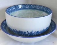 VTG Japanese Bowl & Saucer White Porcelain Blue Daffodils Island Scene Rice Soup