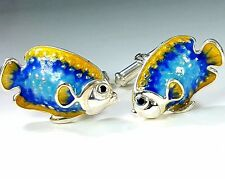 TROPICAL FISH CUFFLINKS, STERLING SILVER, ENAMEL. G.DANILOFF&CO. USA