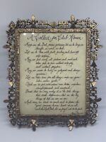 "Antique Ornate Brass Picture Frame With A Prayer  ""A Collect For Club Women"""