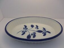 Made In Portugal bakeware oval dish white & blue handpainted design porcelain