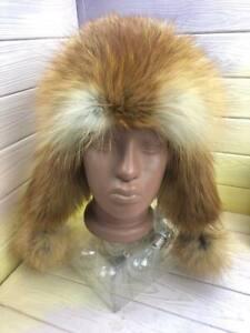 Women's Genuine Fox Fur Leather Ear Flap Hat for Winter, Russian Ushanka, LITVIN