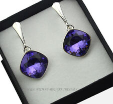 925 SILVER EARRINGS MADE WITH SWAROVSKI CRYSTALS FANCY STONE - TANZANITE