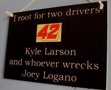 Kyle Larson wrecks Joey Logano Rare Driver Sign Racing Bar Man Cave Tickets