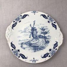 Antique Royal Bonn Delft Blue & White Cake Plate Serving Tray Signed