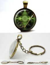 Steampunk Vintage Magnifying Glass - Bronze Tone Photo Glass Dome Keyring