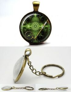 Steampunk Vintage Magnifying Glass - Bronze Tone Photo Glass Dome Key Ring