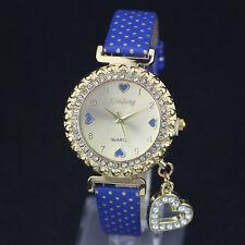 Ladies Fashion Gold & Rhinestone Quartz Heart Pendant Bracelet Band Wrist Watch.