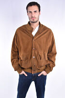VINTAGE Suede Leather Jacket Giubbotto Marrone Rennino In Pelle TG XXL Uomo Man