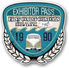 Retro Effetto Invecchiato Custom CAR SHOW ESPOSITORE PASS 1990 VINTAGE vinyl sticker decal