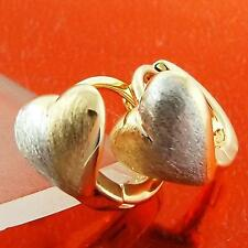 A067 GENUINE REAL 18K YELLOW WHITE G/F GOLD GIRLS HEART STUD HUGGIE EARRINGS