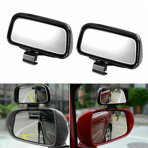Rectangle Shape Adjustable Wide Angle Rear-View Screw Add-On Blind Spot Mirrors