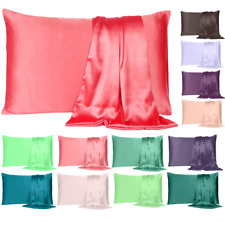 Satin Bed Pillowcase Cover Soft Silk Cushion Cover Bedding Slipcover Single Pcs.