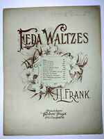 1897 Feda Waltzes Piano by J.L. Frank Large Format Sheet Music Theodore Presser
