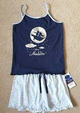 M&S Disney Aladdin Girls Cami Shorts Pyjamas Blue Age 6 - 7 Years