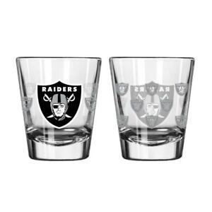 Las Vegas Raiders Satin Etch Shot Glass 2 Pack [NEW] Bar Drink Liquor Shooter