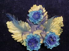 """Vintage Millinery Flower Collection 2 -7 1/2"""" Blue Shades w/Feathers H2111"""