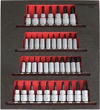 """Trident 38 Piece 1/4"""" & 3/8"""" drive Hex & Torx Socket Bit Set Foam Insert T110"""