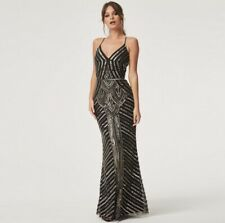 Little Mistress Luxury Melania Black Deco Hand Embellished Maxi Dress size 12