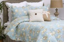 OCEAN BLUE SHELL 2pc Twin QUILT SET : STARFISH COASTAL BEACH HOUSE TROPICAL