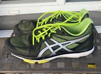 EUC Asics Gel Exert TR Men's Black Gray Volt Neon Running Shoes Size US 11