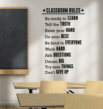 Classroom Rules Wall Decal Education Sticker Inspirational Vinyl Art Decor ed6