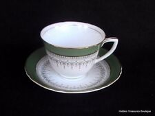 Royal Worcester Regency Cup & Saucer Green/Gray Gold Trim Beautiful