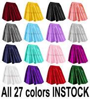 Women Lady Satin Pleated Retro High Waist Shiny Mini Skirt Club S~3XL   27 Color