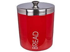 NEW RETRO RED ENAMEL BREAD BIN STAILNLESS STEEL TOP BOX