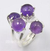 .925 Pure Silver Original PURPLE AMETHYST 4 Cabochon Stone UNUSUAL Ring Any Size