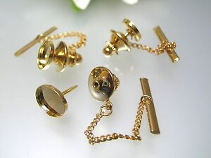 Gold plated tie tack pin safety chain setting finding for cabochon oval stones
