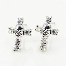 NEW Women's/Men Sliver HARLEY Cross Skull Crystal Zircon Stud Earrings BETSEY