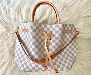 Louis Vuitton Damier Azur Canvas White Pink Girolata Drawstring Shoulder Bag