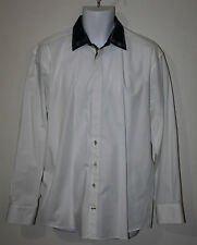LUCHIANO VISCONTI White LS Button Down Dress Shirt L Navy Plaid Trim