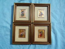 SET OF 4 VINTAGE ORO FOGLIA 23kc GOLD LEAF MINIATURE CHROMOLITHOGRAPHS OF CLOWNS