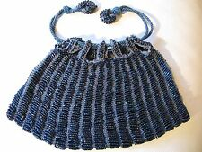 Antique Art Deco Grey Crochet Peacock Blue Carnival Bead Drawstring Purse