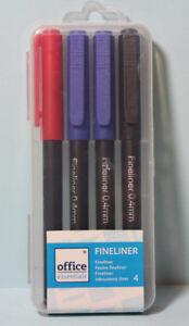 Fineliner Set 4 Stifte 3 Farben Rot Schwarz Blau Stärke 0,4 mm