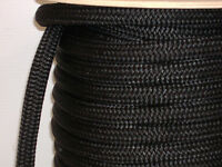 "50 feet of 1/"" DOUBLE BRAID NYLON ROPE dock anchor mooring pull lines black"