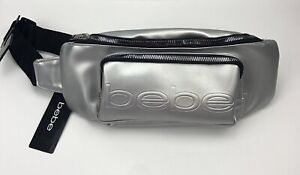 BEBE Zip Around Fanny Pack Belt Bag Waist Silver New with Tags