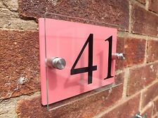 MODERN HOUSE SIGN PLAQUE DOOR NUMBER STREET GLASS EFFECT ACRYLIC RED NAME
