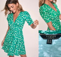 Lipsy Wrap Mini Skater Dress Sz UK 16 Puff Sleeve Green Floral Party RRP£35