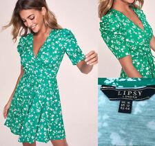 Lipsy Wrap Mini Skater Dress Sz UK 16 Puff Sleeve Green Floral Party RRP£35