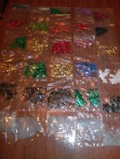 25 packs of Faceted SEQUINS and Crystal Beads for Crafts w Bonus Beading Needles