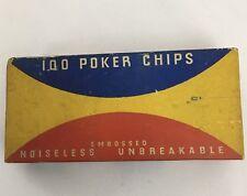 Vtg. Van Dyke Embossed Fleur De Lis Noisless Unbreakable 100 Poker Chips