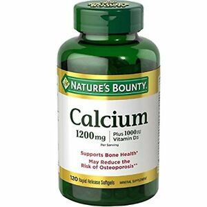Nature's Bounty 1200 mg Calcium + D3 Softgels, 120 Ct (3 Pack)