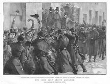 Irish LAND LEGA arresti all' ufficio di affitto a loughrea-stampa antica 1887