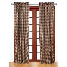 Farmhouse Curtain Panel Pair Black Tan Gingham Check Window Treatment